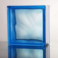 Стеклоблок прозрачный Cloudy голубой JH011