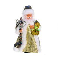 Дед Мороз музыкальный 30см с посохом и мешком, 188-015