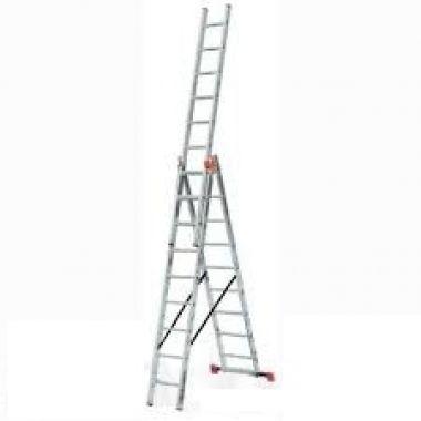 Алюминиевая лестница 3х7, Н=3,9/4,9м  (5307)
