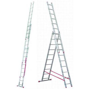 Алюминиевая лестница 3х8, Н=5,05/6,05м  ( 5308)