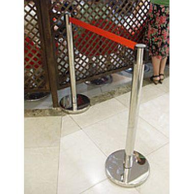 Оградительный столб h-91см,d-63мм, с вытяж. лентой 3м, нерж, 110