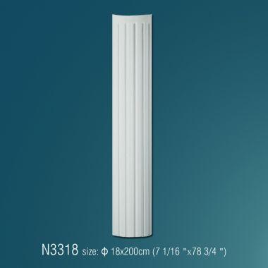 Декоративная полуколонна рифленая N3318 (d 18 x 200cм)