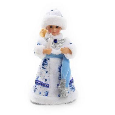Снегурочка музыкальная 30см со свечой и шарфом, 188-052