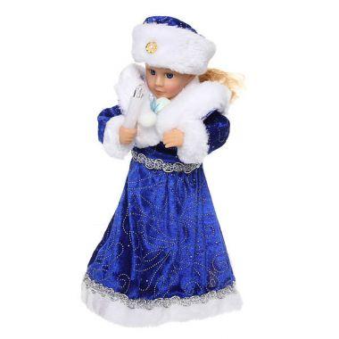Снегурочка музыкальная 30см со свечкой в синем платье, 188-098