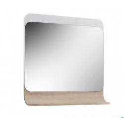 Зеркало  Итака В 85 Белое с ЛДСП молочный дуб