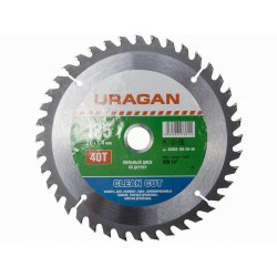 URAGAN Clean cut 185х20мм 40Т диск пильный по дереву 36802-185-20-40