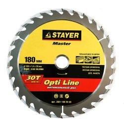 Диск пильный STAYER MASTER OPTI-line по дереву 180х20мм,30Т 3681-180-20-30