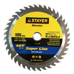 Диск пильный STAYER MASTER Super-line по дереву 185х20мм,40Т 3682-185-20-40