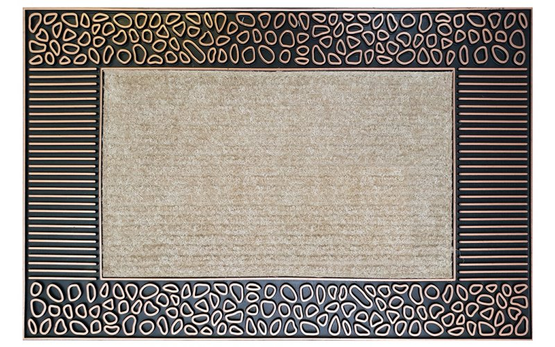 Коврик EHOME 7136  0,45 х 0,70 Бежевый с горизонтальной резиновой каймой