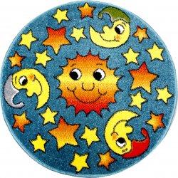Детский коврик 0,80 х 0,80 Круглый 11081/140 Голубой/ Звёзды+месяцы