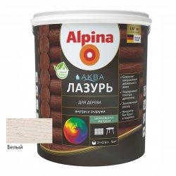 Лак акриловый водно-дисперсионный Alpina Аква Лазурь для дерева цветная, Белый, 0,9 л/0,90