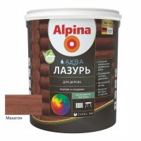 Лак акриловый водно-дисперсионный Alpina Аква Лазурь для дерева цветная, Махагон, 0,9 л/0,9