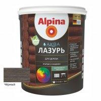 Лак акриловый водно-дисперсионный Alpina Аква Лазурь для дерева цветная, Черный, 0,9 л/0,90