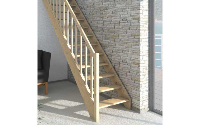 Лестница прямая PARIS бук не лакированный без проступей 14 ступеней до 280 см