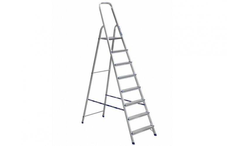 Алюминиевая лестница-стремянка 8-и ступ, Н=1,66/3,70м  (Ам708)
