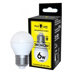 Светодиодная лампа теплый белый свет цоколь E27 6 Вт
