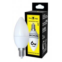 Светодиодная лампа теплый белый свет цоколь E14 6Вт