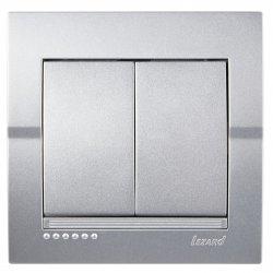 Deriy Выключатель двойной серебристый металлик 702-2828-101