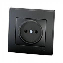 705-4242-121 LESYA Розетка б/з керамика черный бархат матовой вставкой