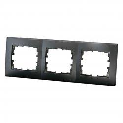 705-4200-148 LESYA Рамка 3-ая горизонтальная б/вст чёрный бархат матовый