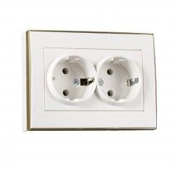 703-0226-127 RAIN Розетка двойная с/з керамика белый с бок.вст.золото 1340