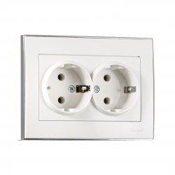 703-0225-127 RAIN Розетка двойная с/з керамика белый с бок. вст. хром 1311
