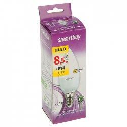 Светодиодная LED лампа Smartbuy теплый яркий свет цоколь Е14 8,5Вт