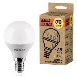 Лампа LED WOLTA теплый яркий свет цоколь Е14 7.5Вт