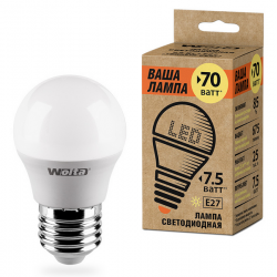 Лампа LED WOLTA теплый яркий свет цоколь Е27 7.5Вт