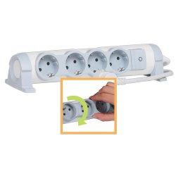 Удлинитель 4х2К+З, с выключателем, поворотный, кабель 1,5 м, Комфорт 694626