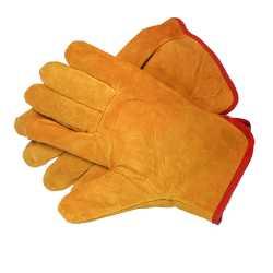 Спилковые перчатки короткие утепленные