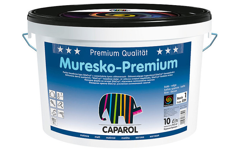 Краска акрил. в/д Caparol Muresko-Premium (Капарол Муреско-Премиум) База 1, 10л