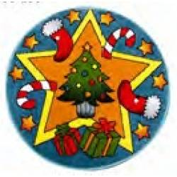 Детский коврик 0,80 х 0,80 Круглый 11092/140 Голубой / Merry christmas