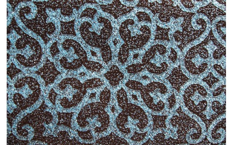 Бытовой ковролин FRISE KOLIBRI 11046/141 Чёрный с изурудн. орнаментом 4,0м