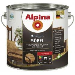 Лак акрил. Alpina Водоразбавляемый лак для мебели (Alpina Aqua Moebel) глянцевый 750 мл / 0