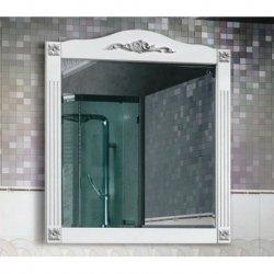 Зеркало Империя В 85 Белая матовый с серебряной патиной (64)