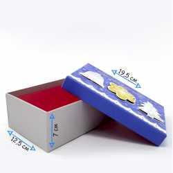 Коробка синяя подарочная новогодняя средняя
