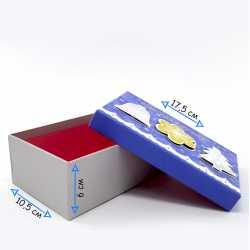 Коробка синяя подарочная новогодняя маленькая