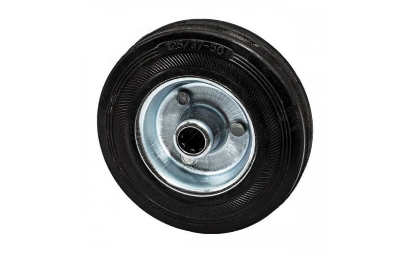 Колесо 125 мм оцинкованная сталь с резиновой шиной Suki