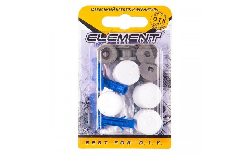Зеркалодержатель d17мм металл+пластмасса № 8 белый (4 шт) Element