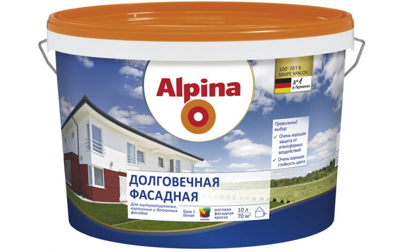 Краска в/д акриловая Alpina Долговечная фасадная База 1, белая, 10 л