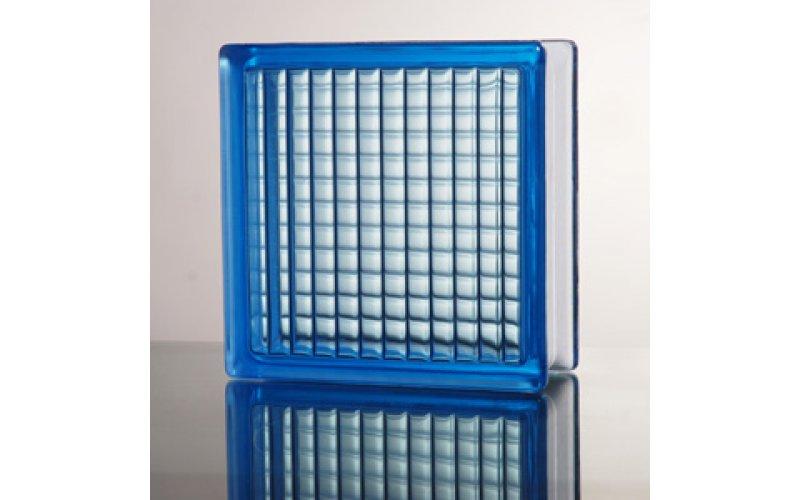 Стеклоблок прозрачный Parallel голубой JH012