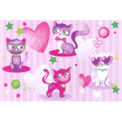 Коврик  Girls 10  Fashion Cats   0,8х1,2 см