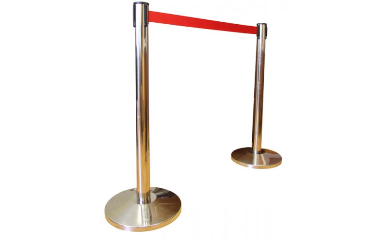 Оградительный столб h-91см, d-51мм, с вытяж. лентой 3м, золото