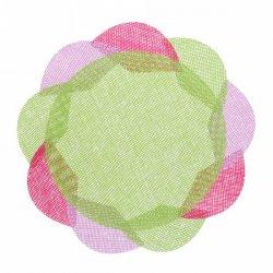 Салфетка на стол 38см, плетеная, Цветок зеленая, 904-774