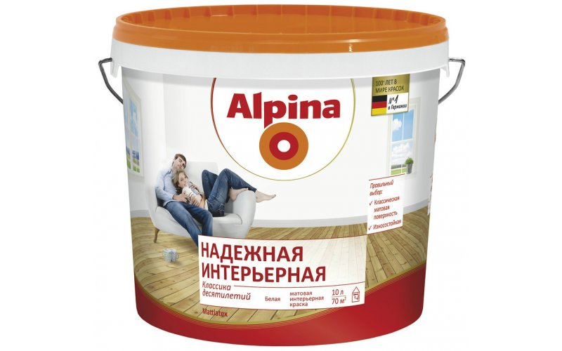 Водоэмульсия Alpina Надежная интерьерная, белая, 10 л