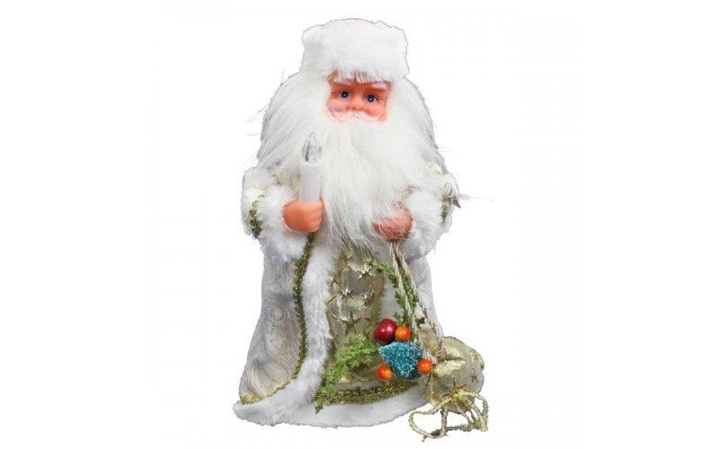 Дед Мороз музыкальный 30см со свечкой и подарками, 188-010