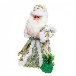 Дед Мороз музыкальный 30см со свечой и мешком подар., 188-133